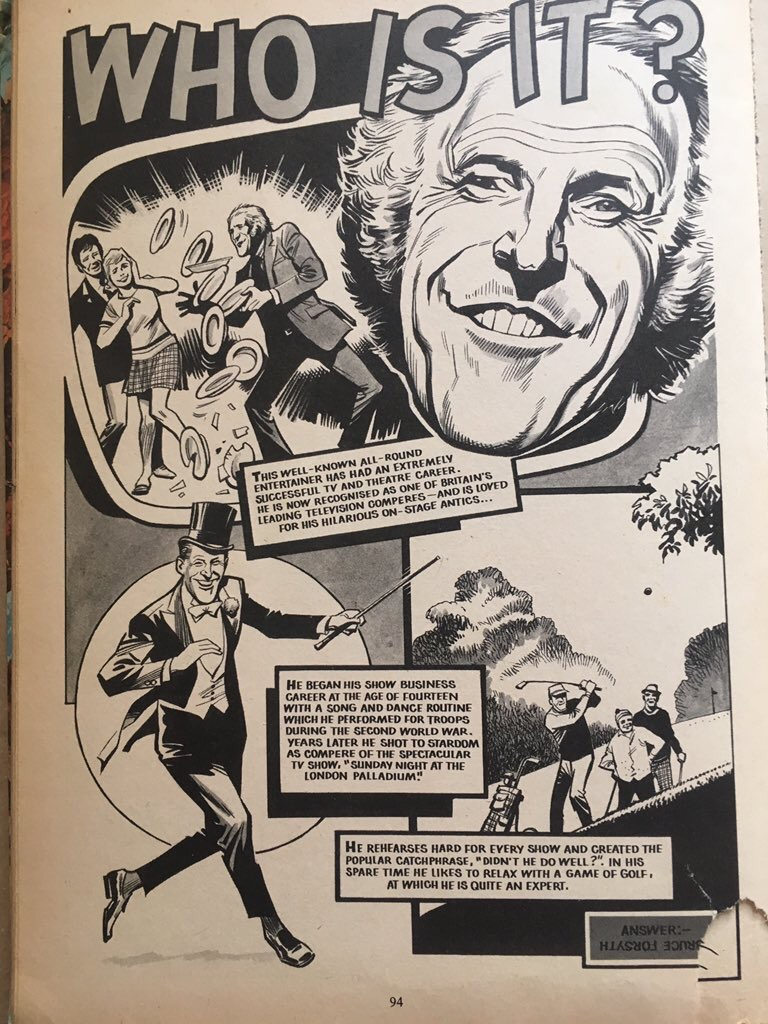 Bruce Forsyth's life story, retold in the 1975 Valiant Annual