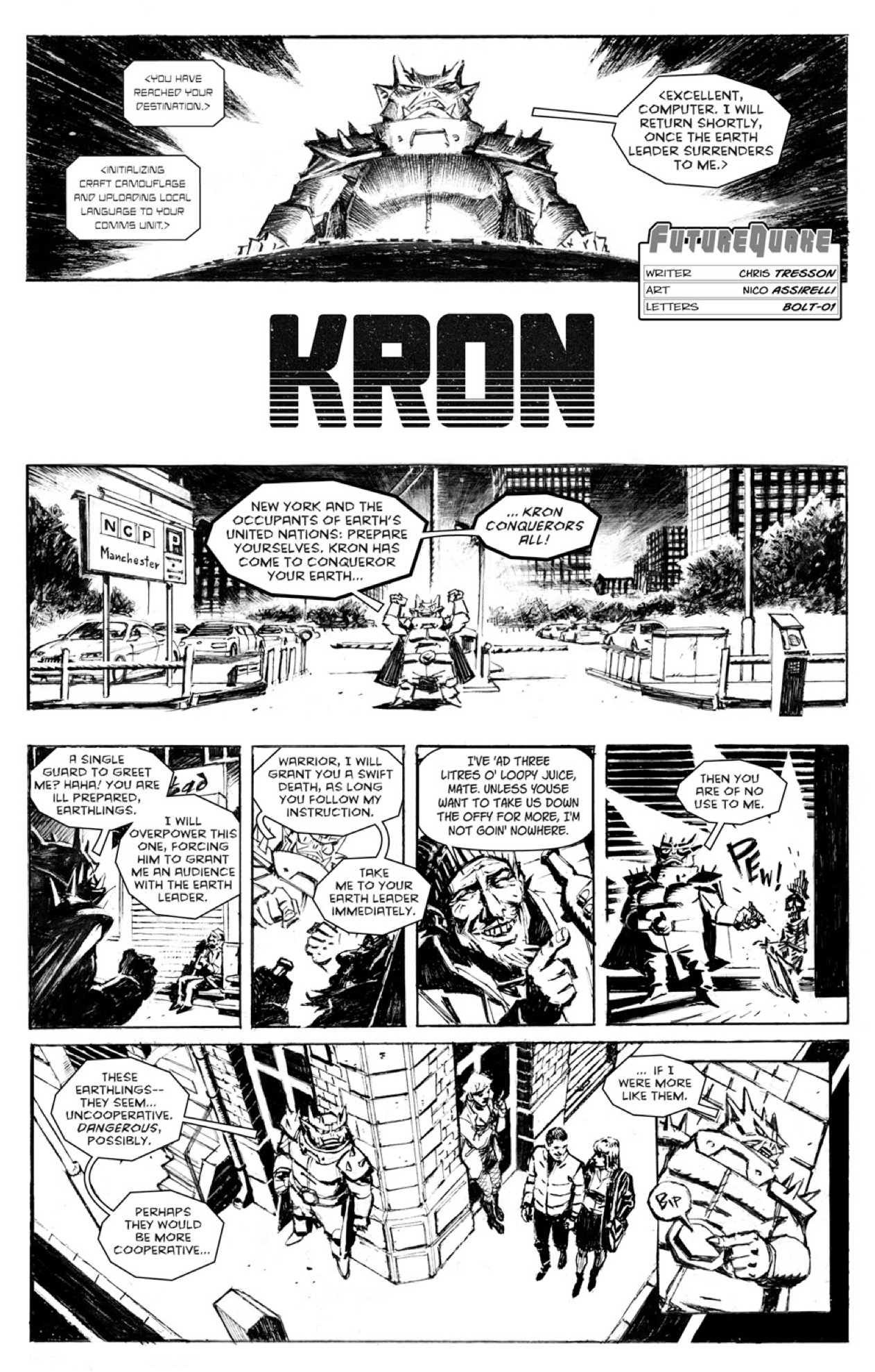"FutureQuake Summer 2017 - Kron by ""Kron"" Written by Chris Tresson Art by Nico Assirelli Letters by Bolt-01"