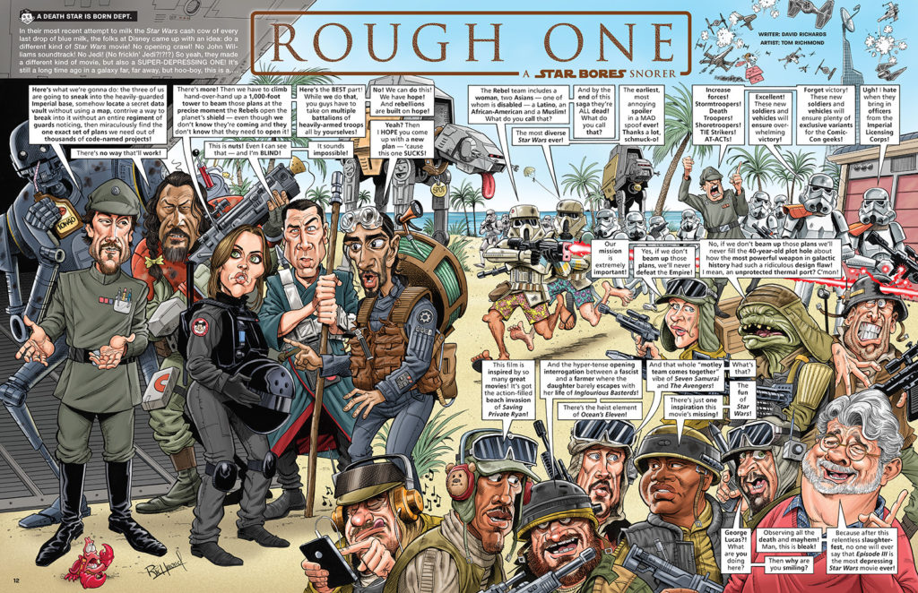 "A spread from Tom's recent Star Wars parody, ""Rough One"", for MAD Issue 545."
