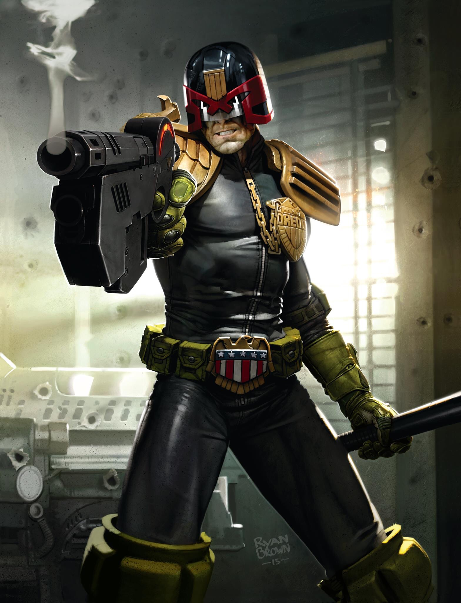 Judge Dredd: digital art by Ryan Brown