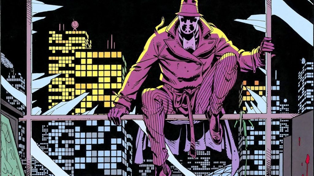Detail of Rorschach from Watchmen, art by Dave Gibbons