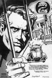 Steve Engelhart, Steve Leialoha and letterer Tom Orzechowski recreated the splash page of Engelhart's comics take on The Prisoner for a convention program