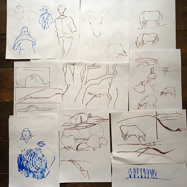 Laky Walk sketches by Simon Russell
