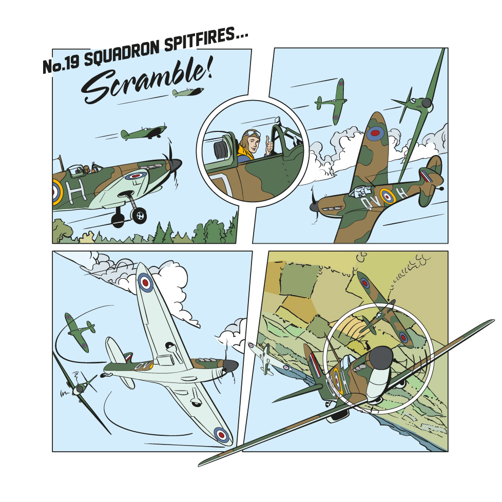 """Spitfires"" - an illustration for the Imperial War Museum  by Stuart Medley"
