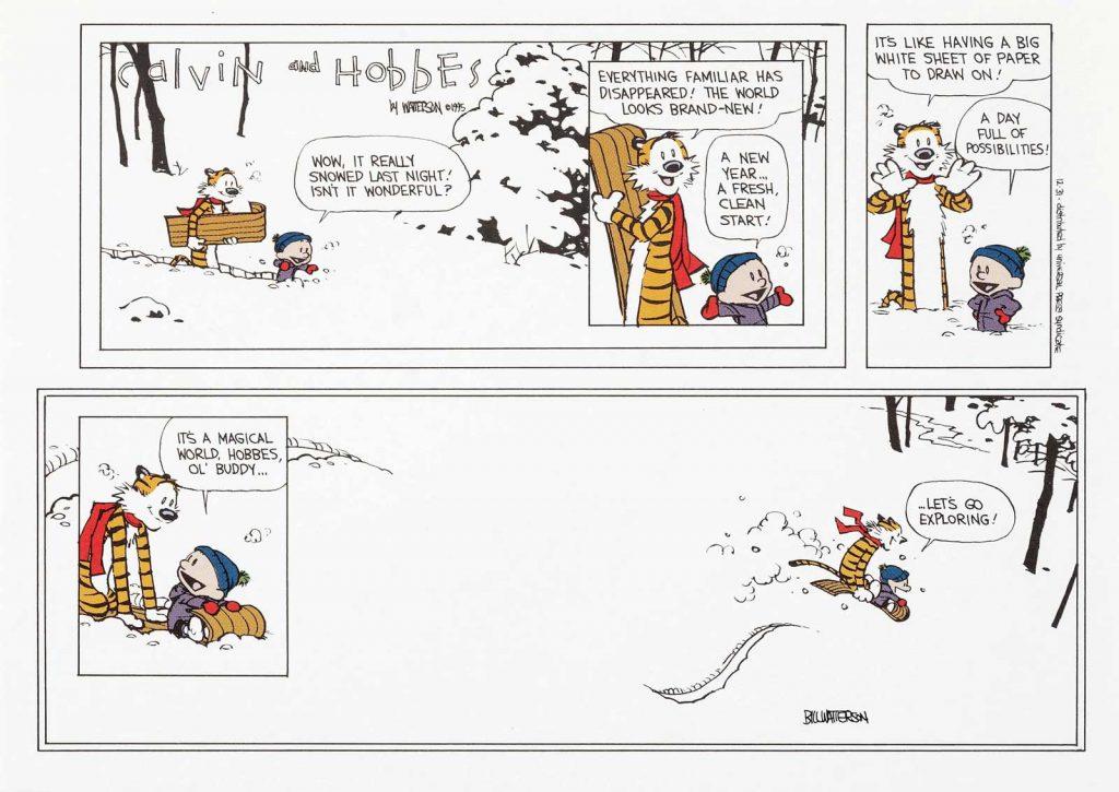 """Bill Watterson Calvin and Hobbes """"The Last Sunday"""" Print Signed dated 12-31-95 (Universal Press Syndicate, 1995)."""