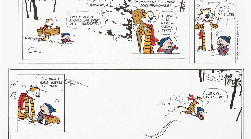 "Bill Watterson Calvin and Hobbes ""The Last Sunday"" Print Signed dated 12-31-95 (Universal Press Syndicate, 1995)."