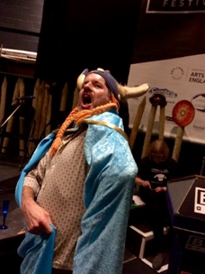 "Comics Laureate Charlie Adlard dons the Comic Laureate ""Cape"" at the 2016 Lakes international Comic Art Festival"