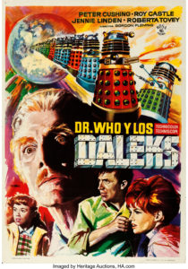"""Spanish Doctor Who and the Daleks film poster with art by Macario """"Mac"""" Gomez"""