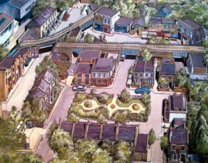 Albert Square, Walford - an EastEnders illustration for the Radio Times in 199 by Graham Bleathman