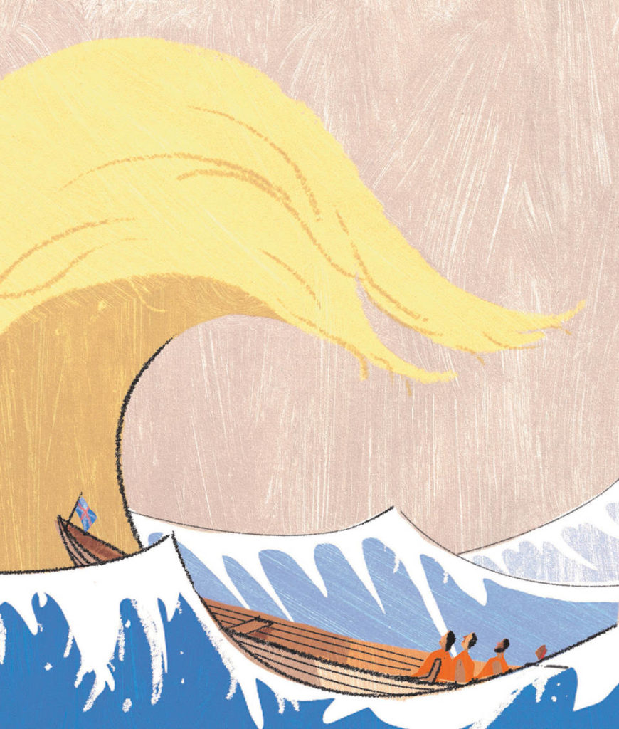 2017 Editorial Illustration Award and Moira Gemmill Illustrator of the Year, A. Richard Allen - 'Trump Wave', in The Sunday Telegraph Money
