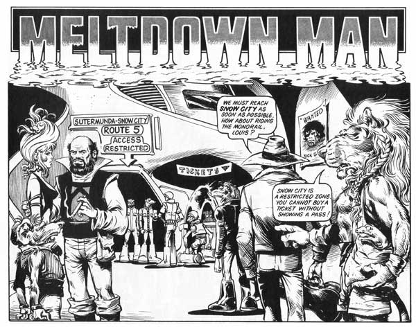 Massimo Belardinelli's Meltdown Man for 2000AD - guest starring himself. image © Rebellion, with thanks to Jeremy Briggs