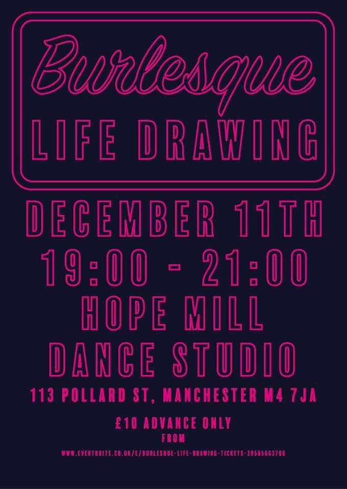 Burlesque Life Drawing Poster - Mancunian Way 2017