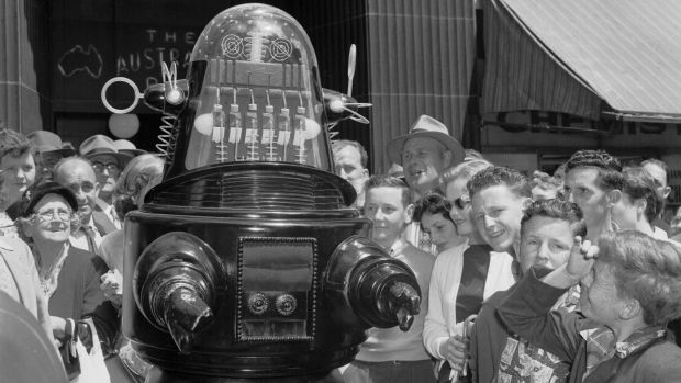 Robby the Robot in Sydney, Australia, to promote the original release of Forbidden Planet