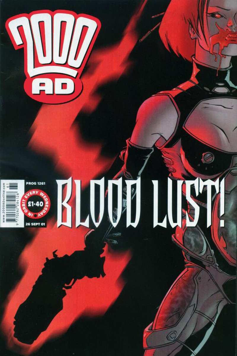 A Durham Red cover for 2000AD (Prog 1261) by Ben Willsher, publised in 2001