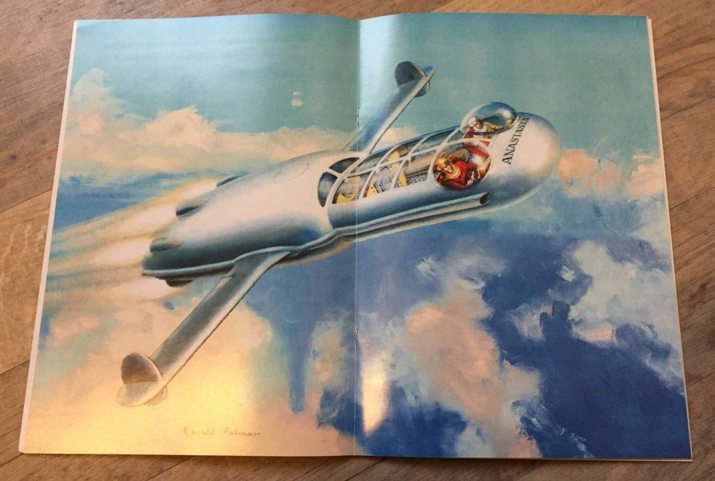 Spaceship Away Issue 8 features a centre spread by Gerald of the Anastasia, Dan Dare's personal spacecraft, in atmospheric flight.