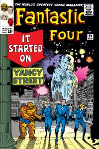An early appearance for Yancy Street, on the cover of Fnatastic Four #29. Image © Marvel Comics