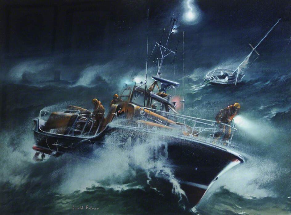 Rescue of the Cythara, 1983 by Gerald Palmer | Jersey RNLI collection