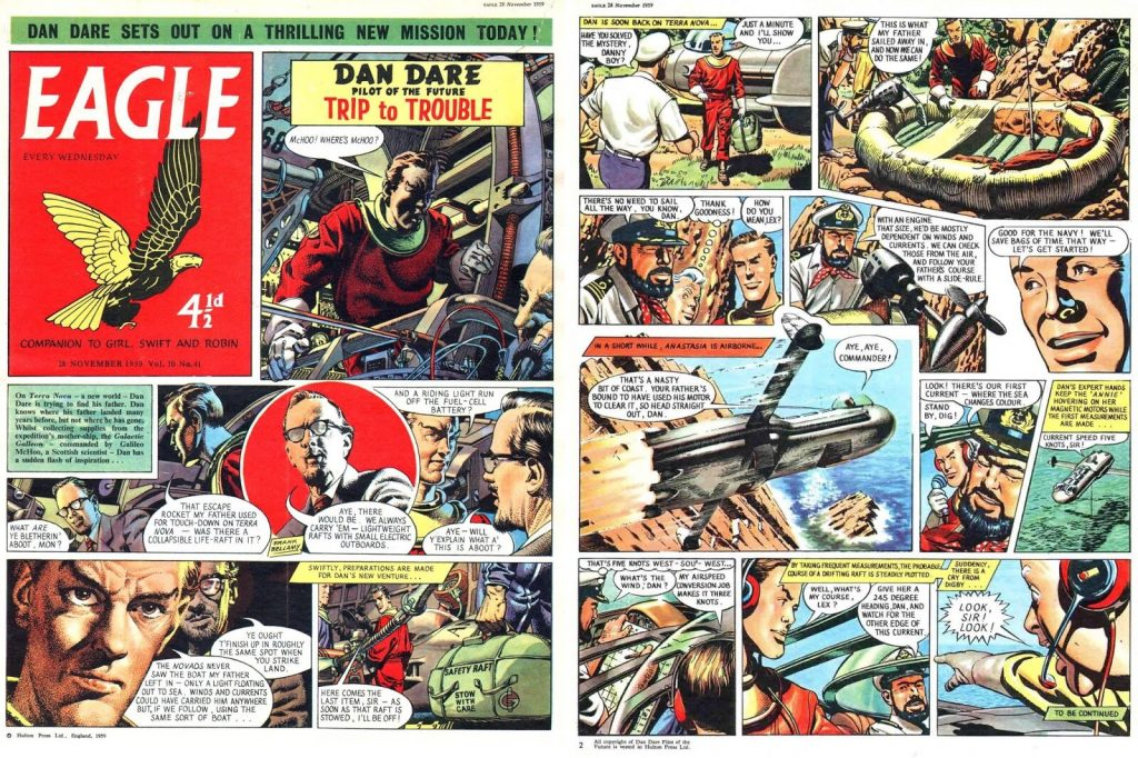 """Dan Dare"" from Eagle cover dated 28th November 1959, Volume 10 No 41. The difference in artwork styles by Frank Bellamy, Don Harley, Gerald Palmer and Keith Watson is evident (via the Frank Bellamy Checklist Blog)"