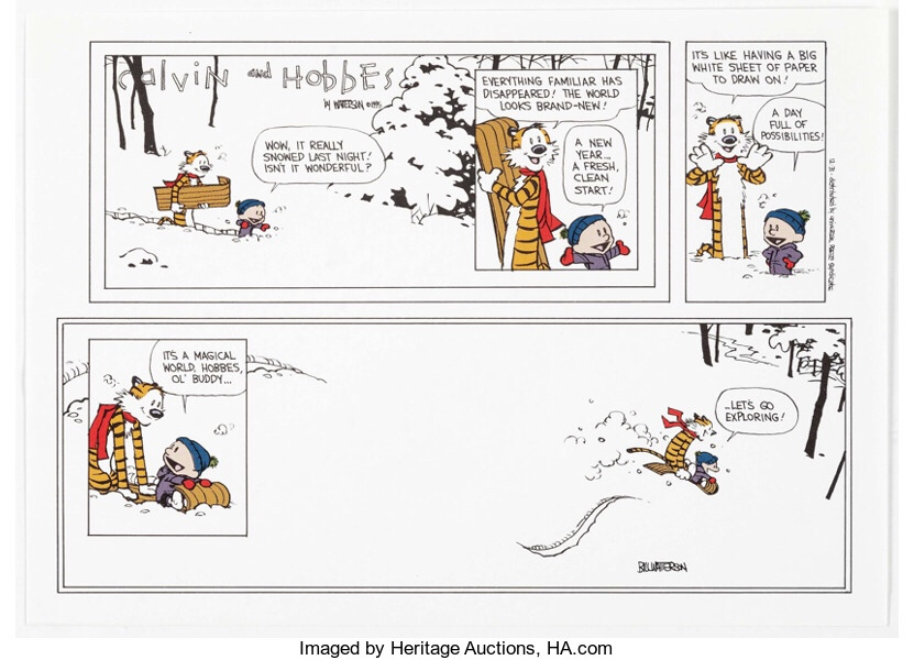 Calvin and Hobbes signed print