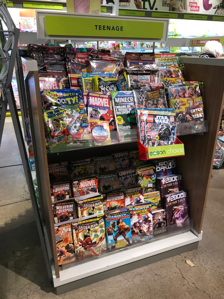 The latest from Marvel/ DC/ 2000AD take pride of place on their own end display along with related titles and comics strips