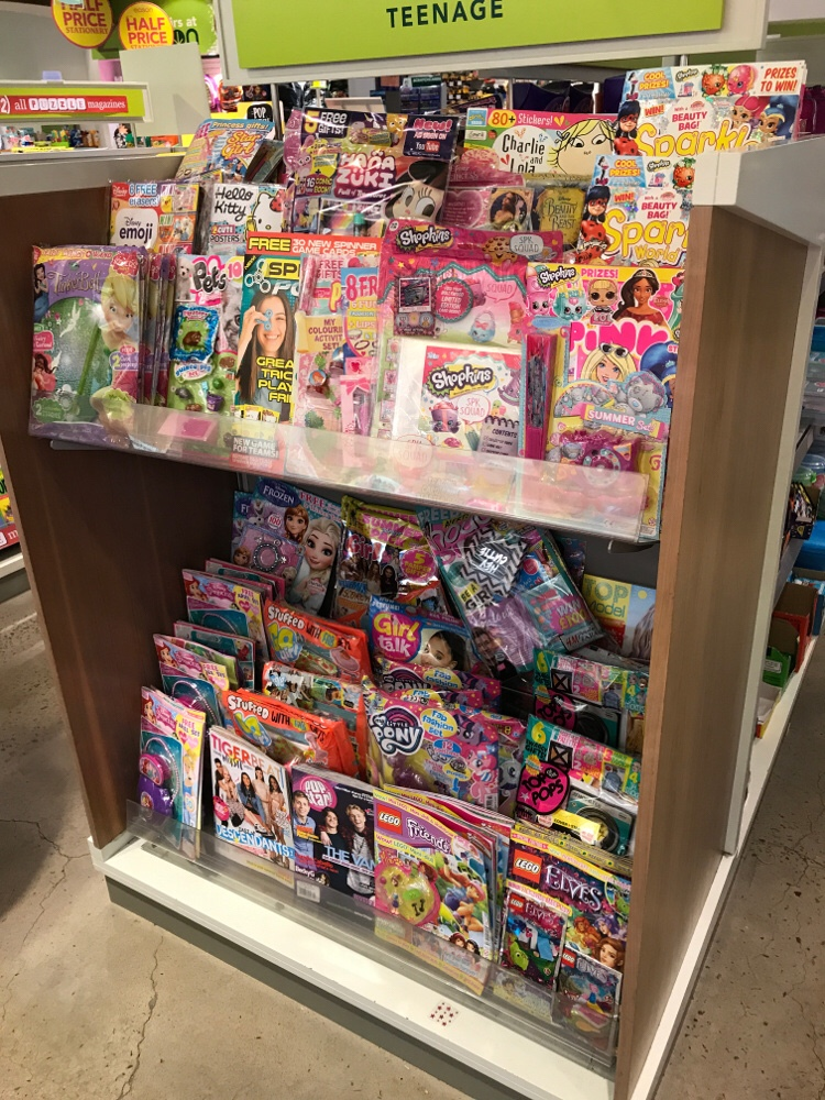 The opposite end has the titles which are still aimed primarily at younger girls. A bright, attention-grabbing display for potential readers