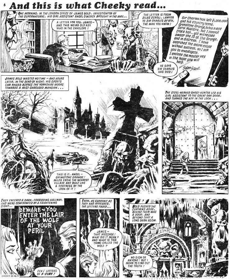 Cheeky Weekly Issue one - James Bold - Fangs of Fear Page One