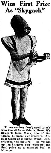 In 1910, a young woman in Tacoma, Washington created a MrSkygack costume to wear to a masquerade ball (where she won first prize). A male friend, Otto James, later borrowed the outfit to advertise a skating rink. As he paraded up and down a main street of the city, the Tacoma police arrested him for violating an ordinance prohibiting masquerading on public streets. He was released on $10 bail. (Via I09)