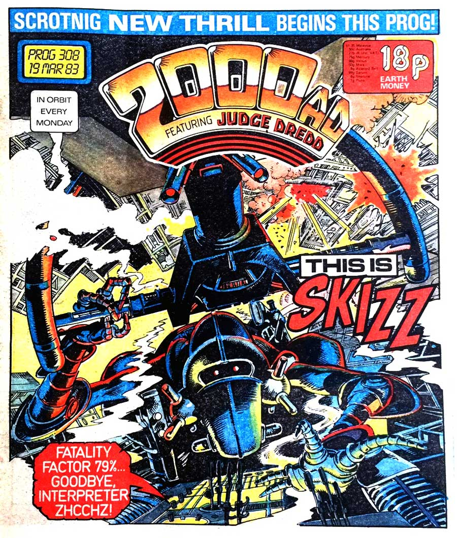 March, 1983... and Zhcchz of the Tau-Ceti Imperium, more Brummily known as Skizz, arrives in 2000AD, courtesy Alan Moore and Jim Baikie