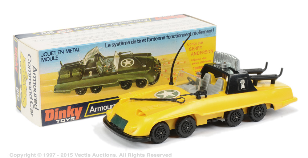 "A Gerry Anderson ""Armoured Command Car prototype toy with French language box from the unrealised Gerry Anderson TV series The Investigator, which was sold at auction in 2016 for £300. Image: Vectis"