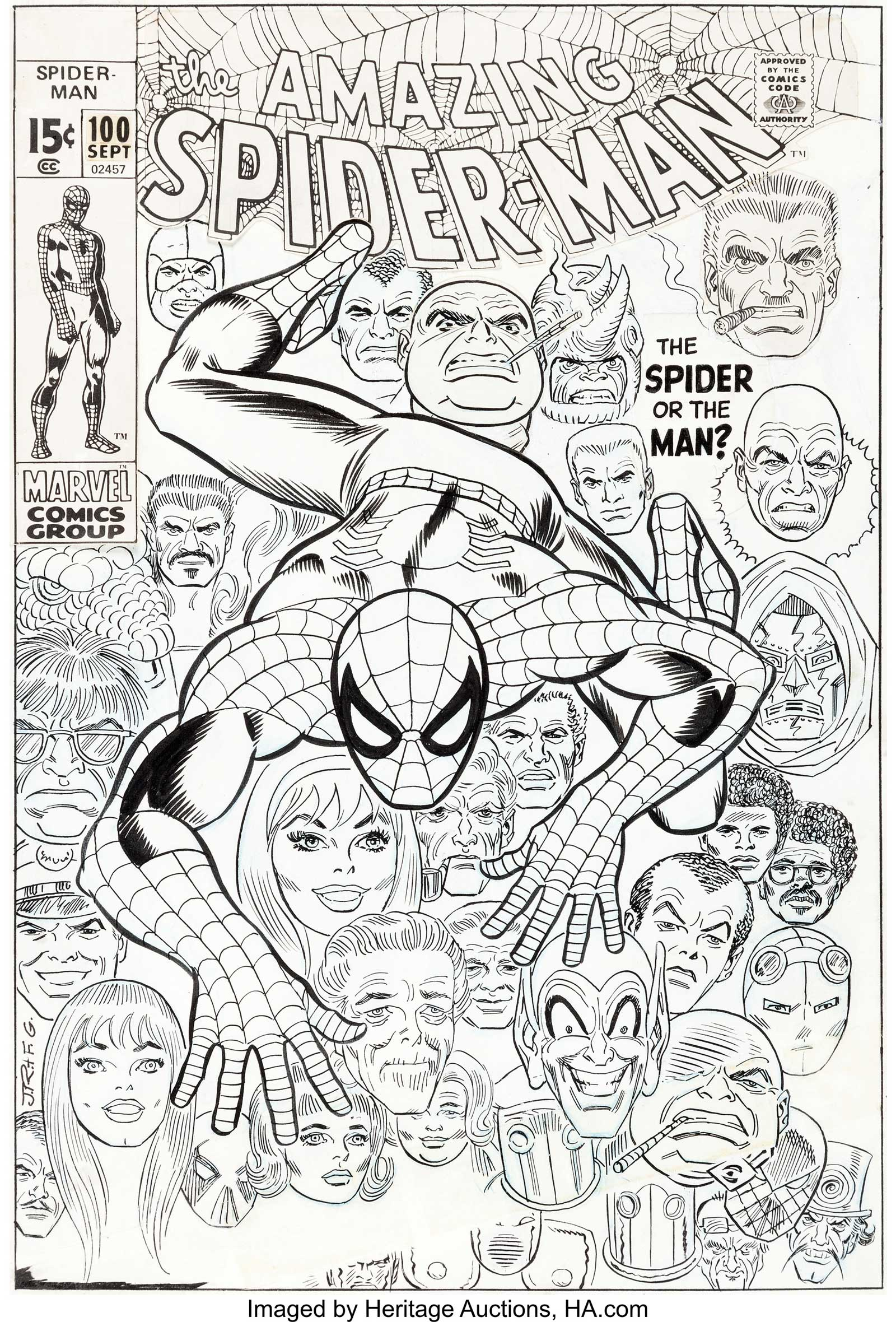John Romita Sr. and Frank Giacoia Amazing Spider-Man #100 Cover, published in 1971)