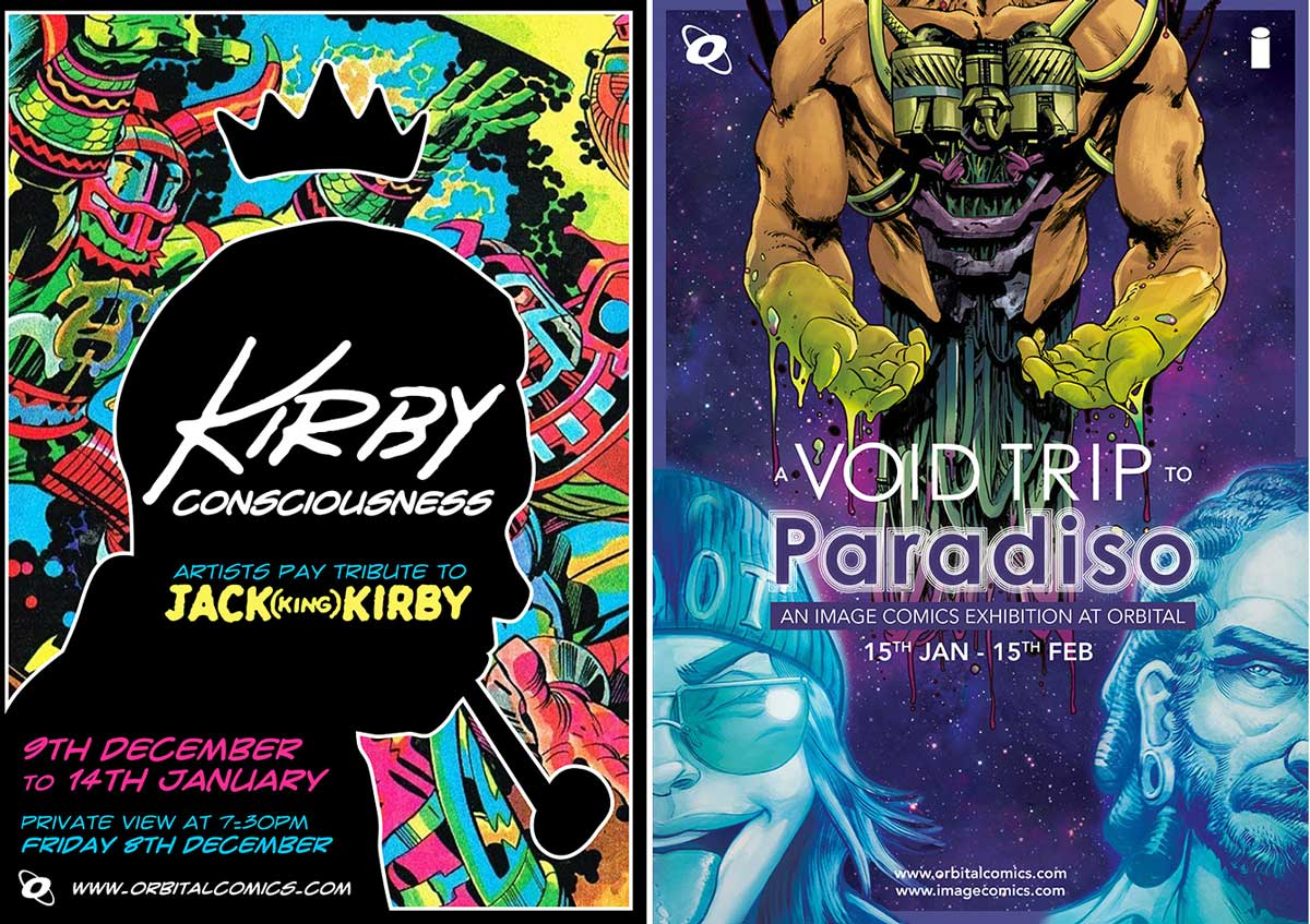Kirby Consciousness and Void to Paradiso - Orbital Comics Exhibition Posters