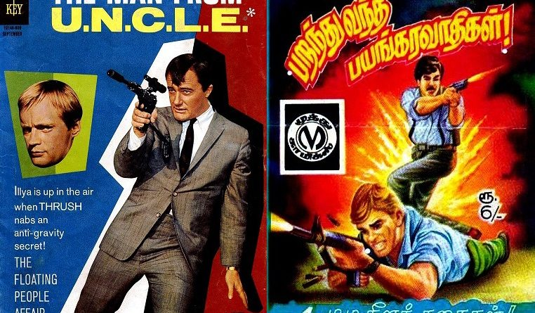 The covers of Man from U.N.C.L.E. #8 Muthu Comics and (Parandhu Vandha Bayangaravathikal)