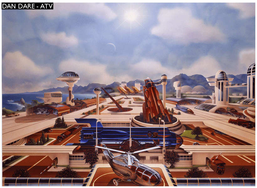 A design for Dan Dare's Spacefleet HQ by Mike Cosford