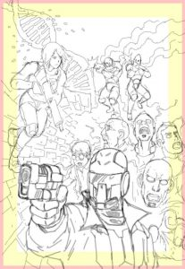 Alfa Robbi's draft cover design for the Parassassin graphic novel