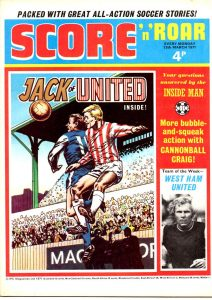 Early issues of Score 'n' Roar lead with photo covers, but later issues, such as this one cover dated 13th March 1973, went with a strip lead - too late to save it, however, from merger with Scorcher