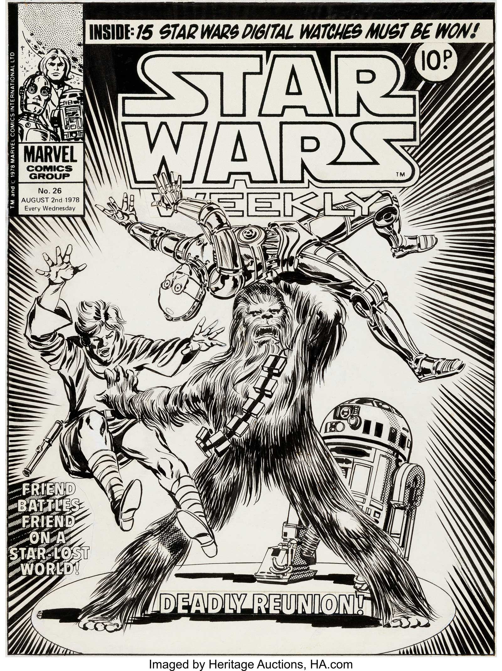 Tom Palmer's original cover art for  Star Wars Weekly Issue 26