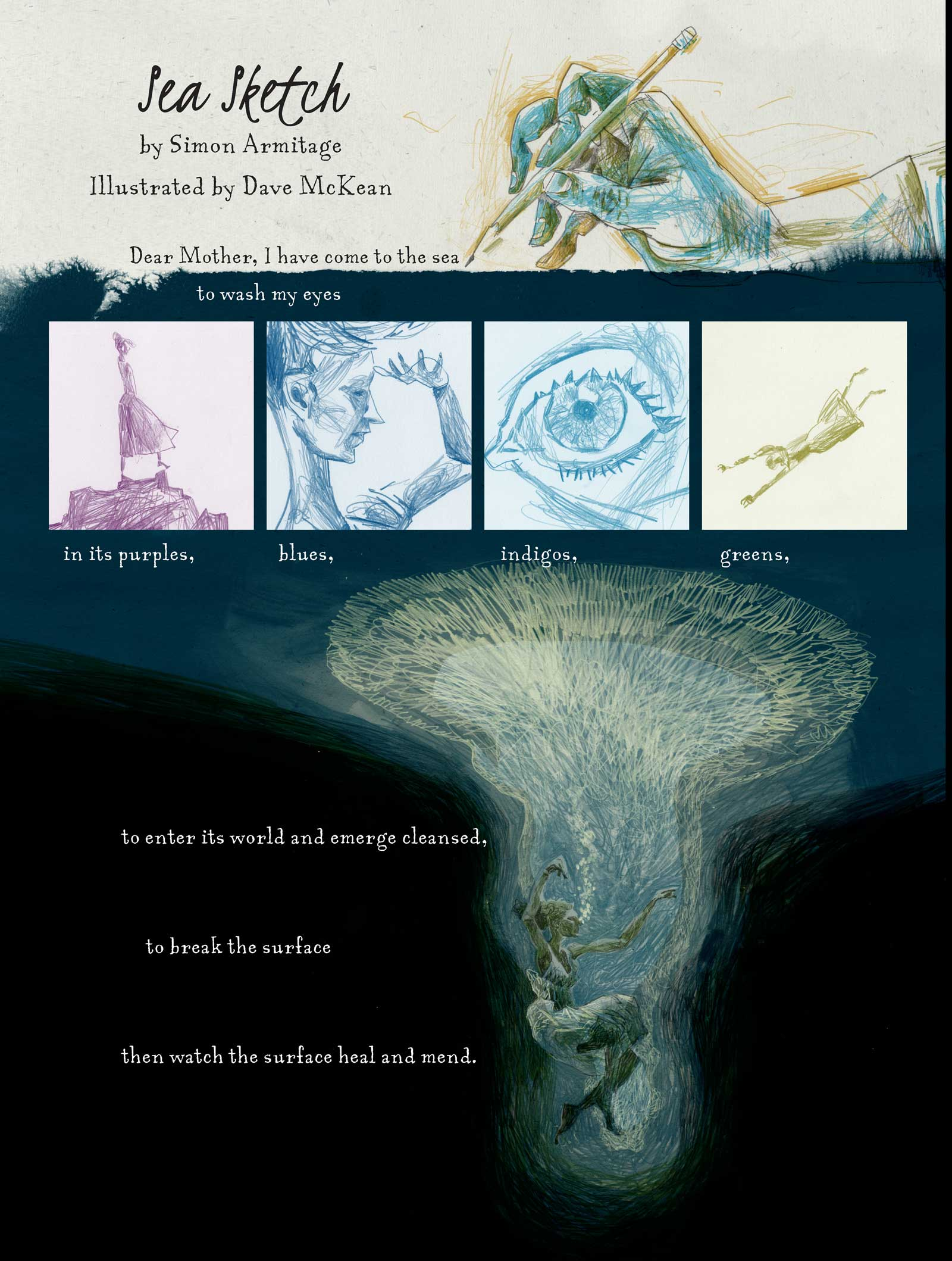 """The opening page of """"Sea Sketch"""" for the Traces of the Great War anthology by Simon Armitage & Dave McKean"""