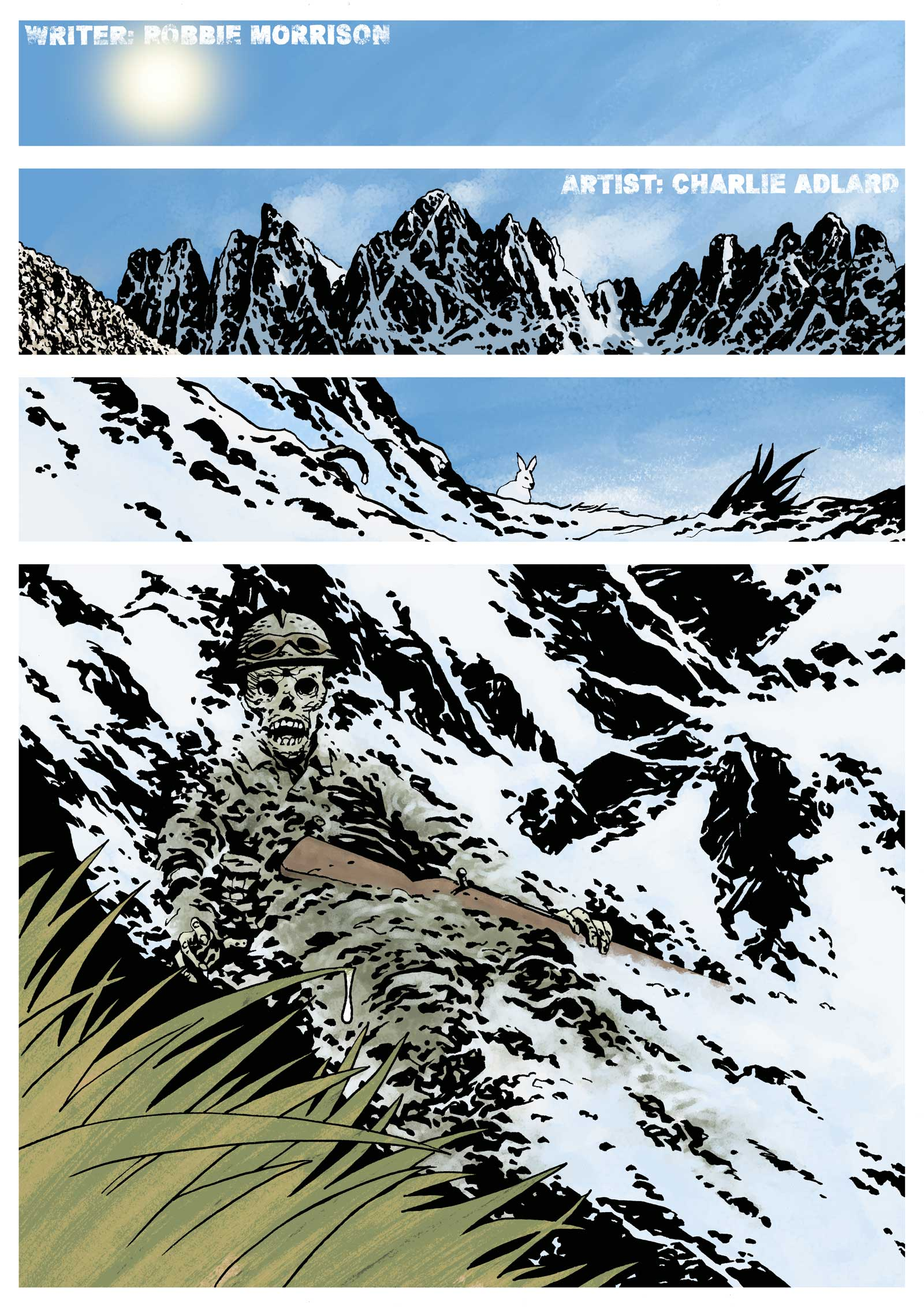 """Traces of the Great War - The opening page of """"Without a Trace"""" by Robbie Morrison & Charlie Adlard"""