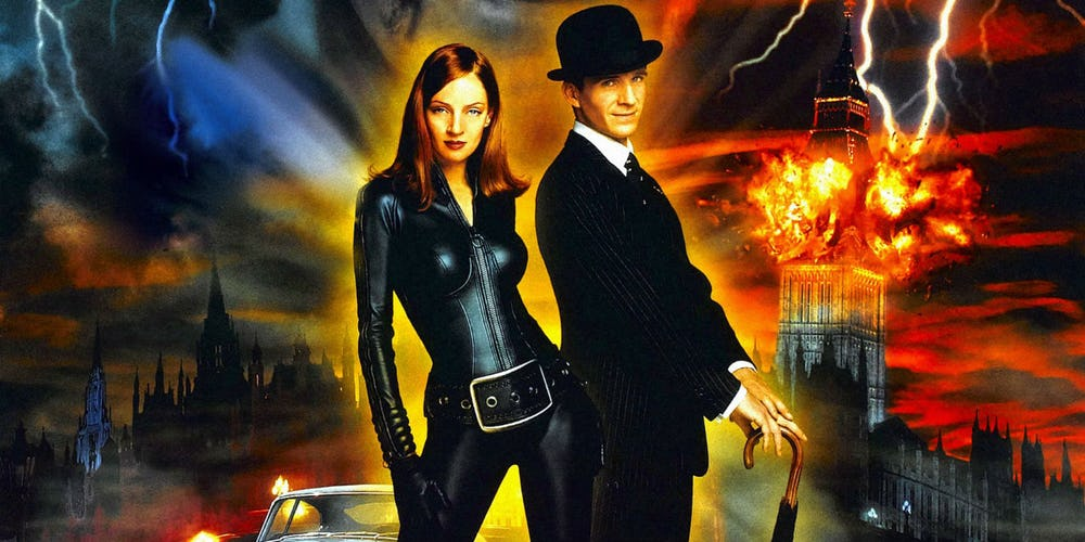 A poster for the 1988 The Avengers film starring Ralph Fiennes and Uma Thurman
