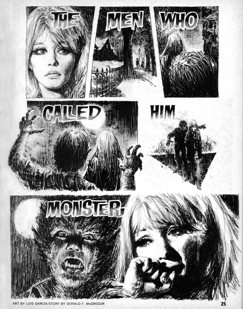 "Page One of ""The Men Who Called Him Monster"", Luis Garcia Mozos first strip for Warren Publications, published in Creepy #43. The story features US comics first interracial kiss. (Modelled by Sydney Poitier and Carol de Haro)"