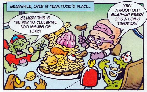 "A panel from ""Team Toxic"" for TOXIC Issue 300, written and drawn by Lew Stringer. The strip has appeared in every issue."