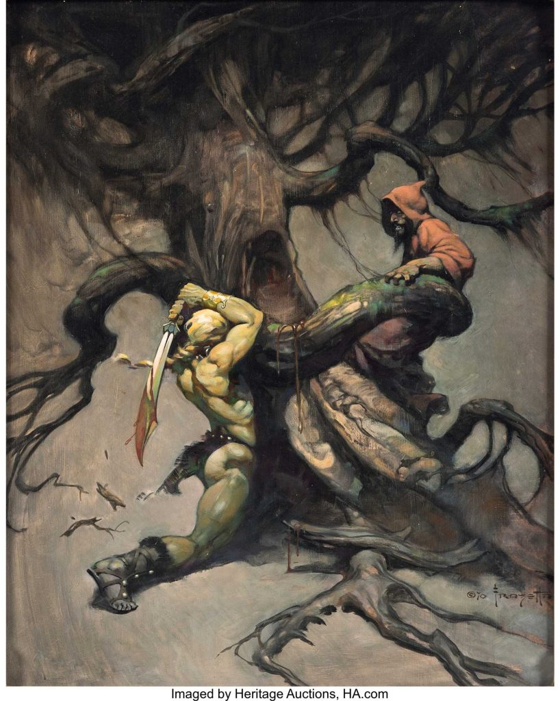 "Frank Frazetta's ""Tree of Death"" Painting Original Art (1970). As amazing in its layout as it is for the subject matter, this incredible painting by legendary master painter Frank Frazetta features a sinewy barbarian rescuing a wizard from a horrific tree hell-bent on having a magical lunch! Three years after it was painted, it was used as the cover for the paperback Flashing Swords #2 published by Nelson Doubleday. It was also used for a poster print in 1980 and later appeared in a Frazetta art book; yet, many hard-core Frazetta fans have never even seen this one before"