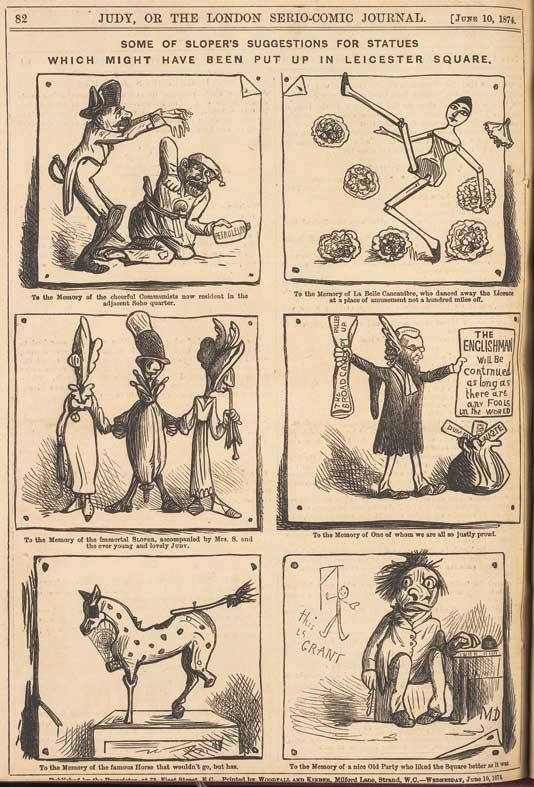"""""""Some of Sloper's suggestions..."""" by Marie Duval, published in Judy, a rival to Punch, cover dated 10th June 1874"""