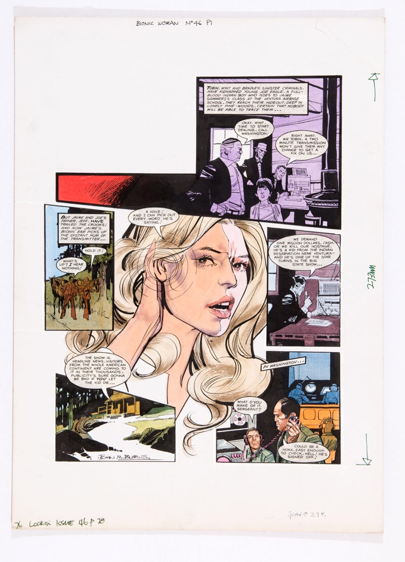 Bionic Woman original artwork (1978) drawn and signed by John Burns for Look-in No 46