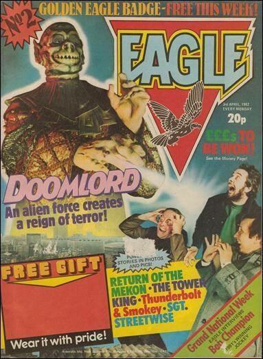 Doomlord terrorizes Kelvin Gosnell, Barrie Tomlinson and Doug Church (With thanks to David McDonald at Hibernia Comics)
