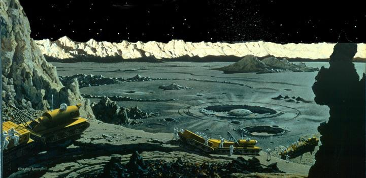 Lunar art by Chesley Bonestell
