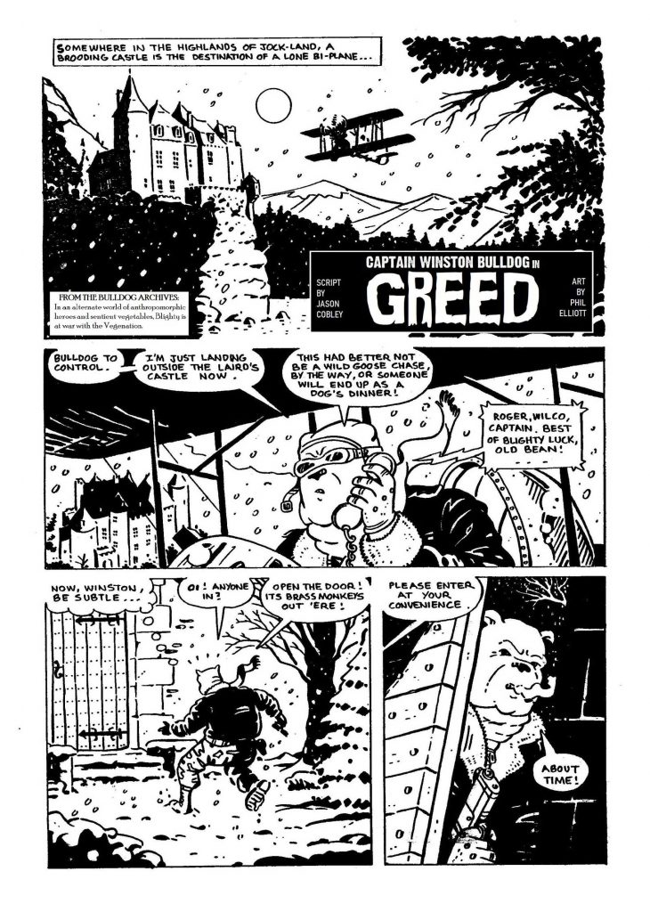 A classic Bulldog tale! Greed, written by Jason Cobley and drawn by Phil Elliott