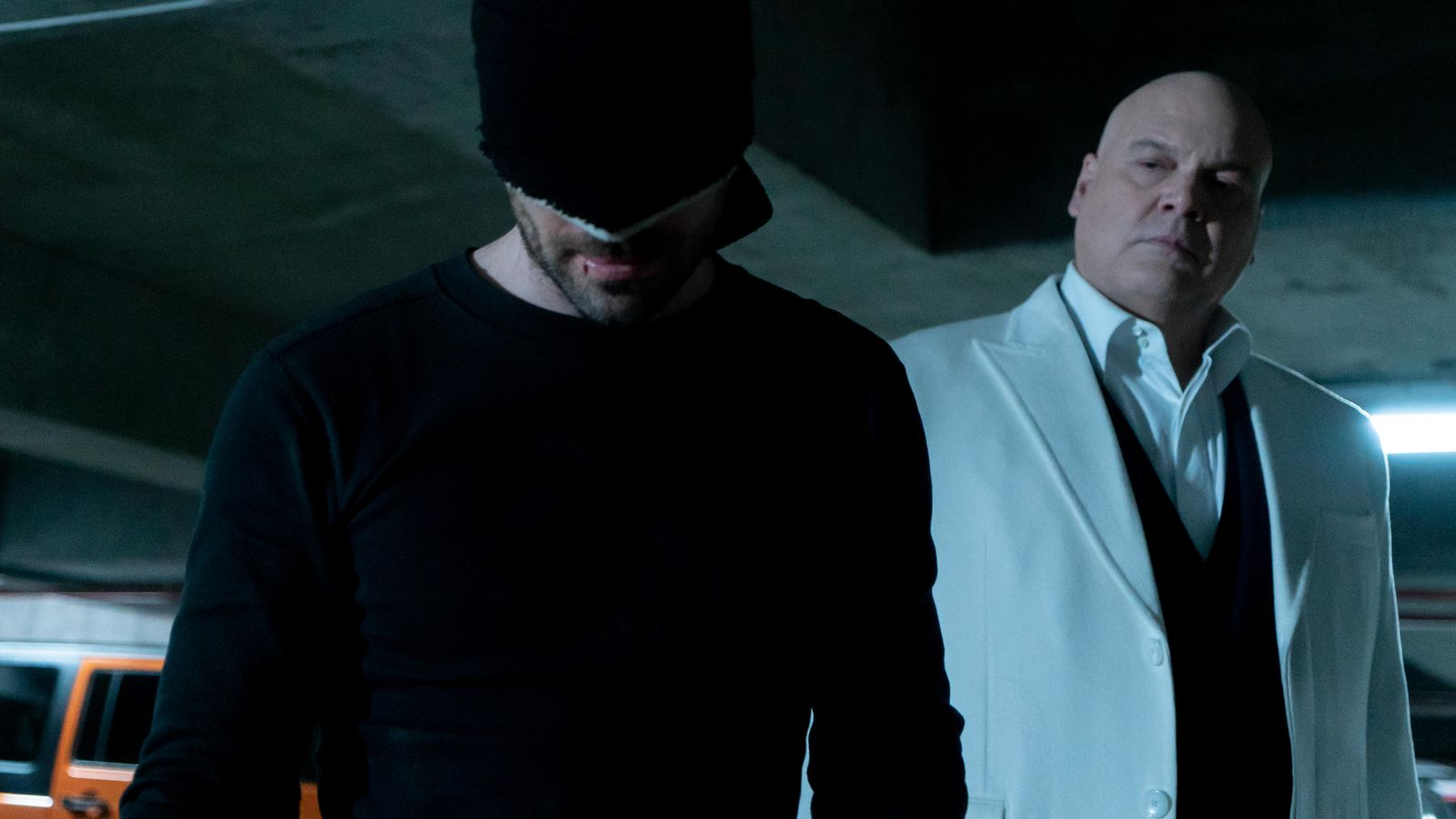 Daredevil (Charlie Cox) and Wilson Fisk aka Kingpin ( Vincent D'Onofrio) in a scene from Daredevil Season 3, available now ion Netflix