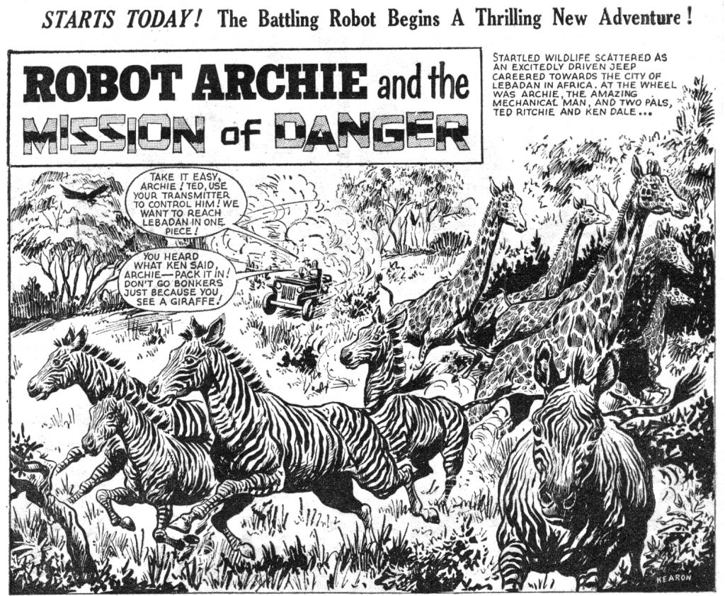 """A panel from """"Robot Archie"""" in Lion. If you look closely, in the bottom right hand corner artist Ted Kearon has managed to sneak his name in! This is from the issue cover dated 15th July 1967. With thanks to Bambos Georgiou"""