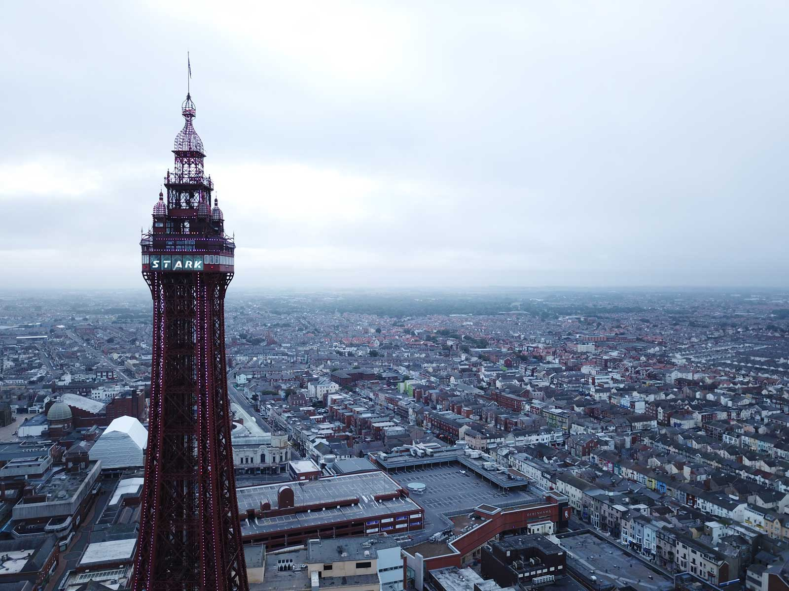 Blackpool Tower gets an Iron Man-inspired Marvel makeover. Photo courtesy Madame Tussauds